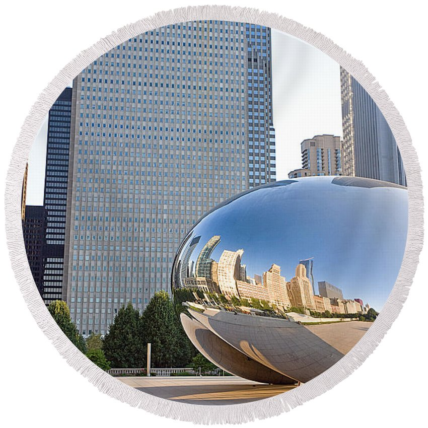 Chicago Round Beach Towel featuring the photograph 0553 Millennium Park Chicago by Steve Sturgill
