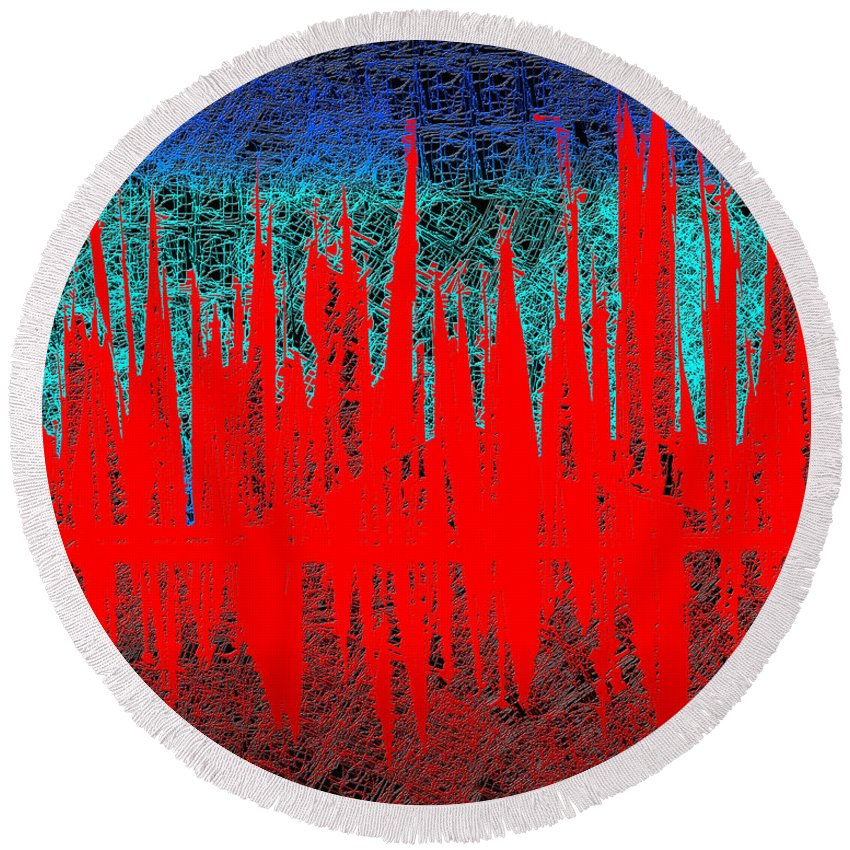 Abstract Round Beach Towel featuring the digital art 0738 Abstract Thought by Chowdary V Arikatla