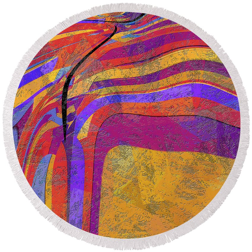 Abstract Round Beach Towel featuring the digital art 0871 Abstract Thought by Chowdary V Arikatla