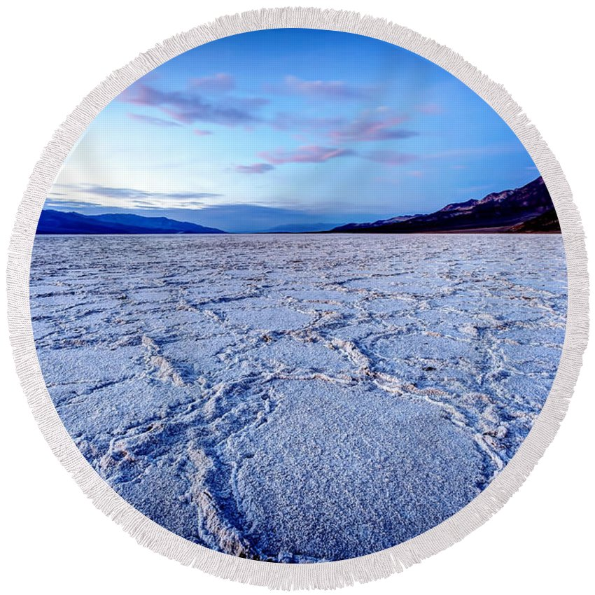 Bad Round Beach Towel featuring the photograph 0919 Badwater Basin by Steve Sturgill