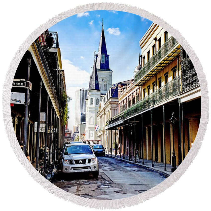 New Round Beach Towel featuring the photograph 0928 St. Louis Cathedral - New Orleans by Steve Sturgill