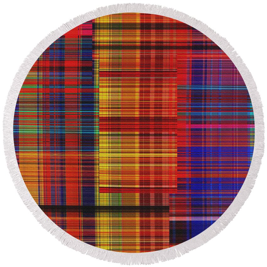 Abstract Round Beach Towel featuring the digital art 0942 Abstract Thought by Chowdary V Arikatla