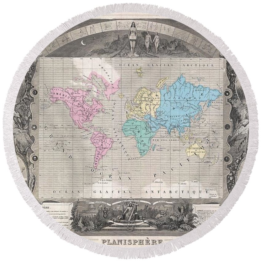 1852 Levasseur Map Of The World Round Beach Towel featuring the photograph 1852 Levasseur Map Of The World by Paul Fearn