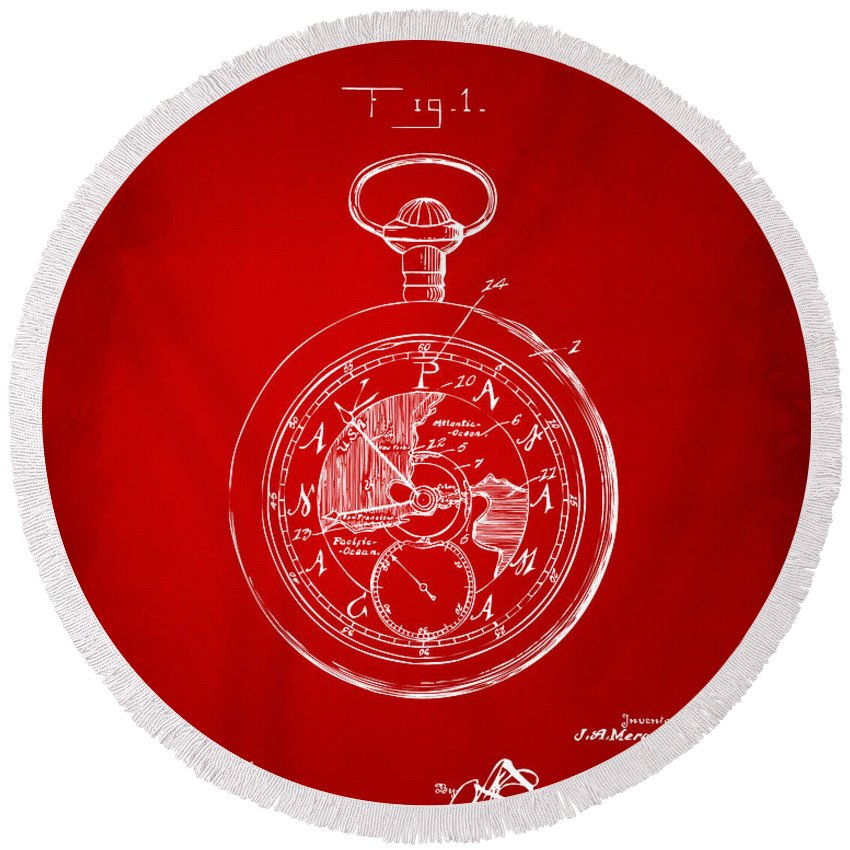 Pocket Watch Round Beach Towel featuring the digital art 1916 Pocket Watch Patent Red by Nikki Marie Smith
