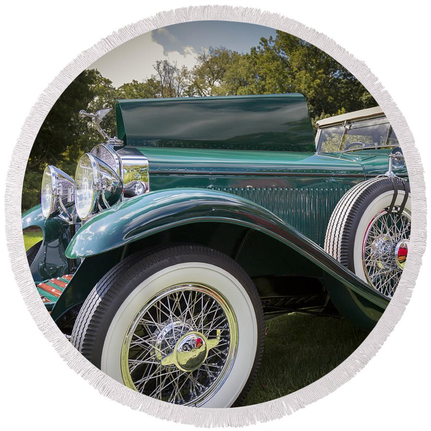 Antique Round Beach Towel featuring the photograph 1929 Isotta Fraschini Tipo 8a Convertible Sedan by Jack R Perry