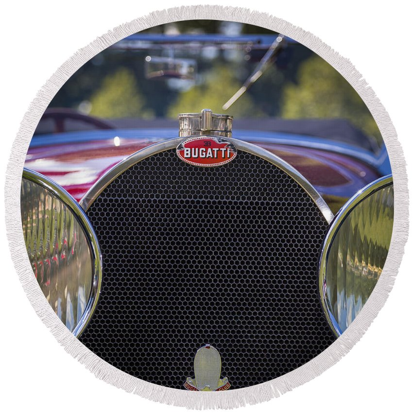 American Round Beach Towel featuring the photograph 1930 Bugatti Type 50 Drop Head Coup by Jack R Perry