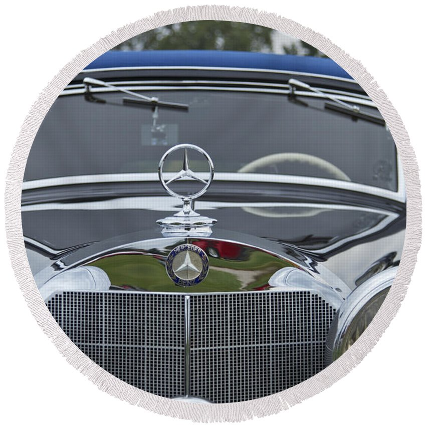 Antique Round Beach Towel featuring the photograph 1937 Mercedes Benz by Jack R Perry