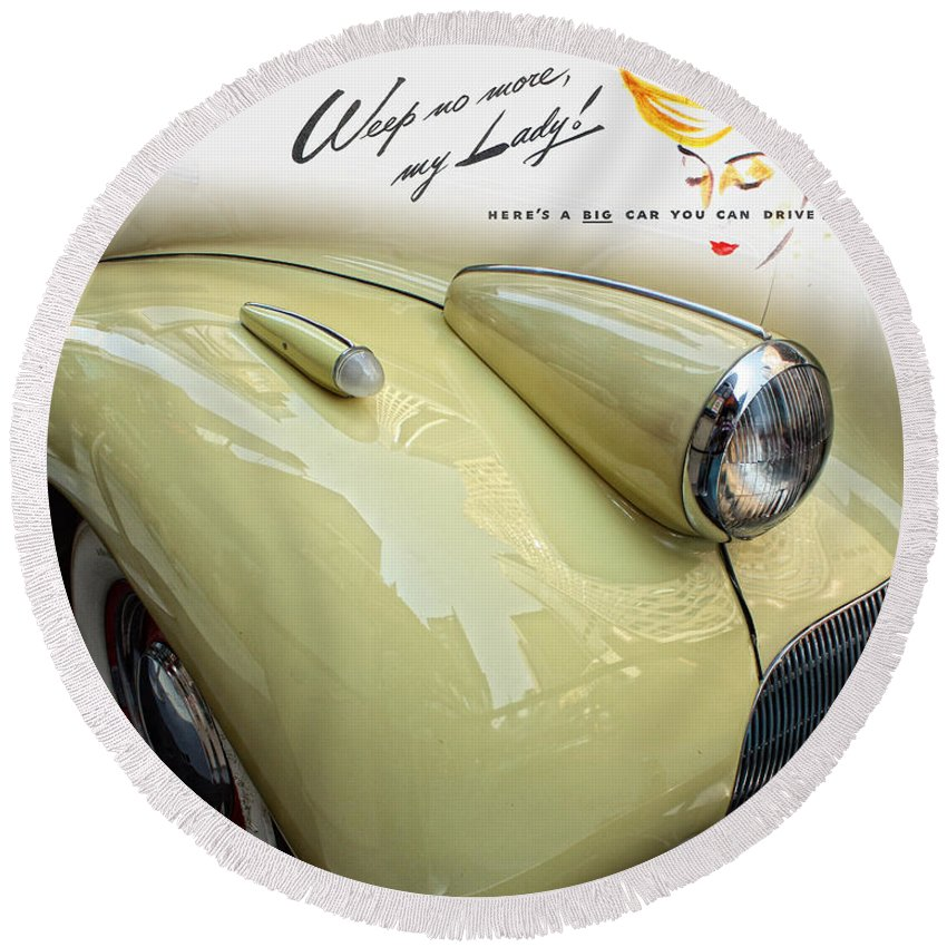 Vintage Buick Car Round Beach Towel featuring the photograph 1940 Buick 41c by Nishanth Gopinathan