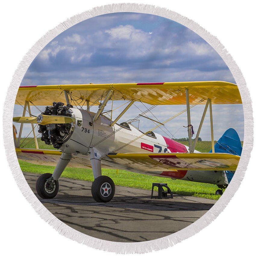 1943 Round Beach Towel featuring the photograph 1943 Boeing Stearman by Jack R Perry