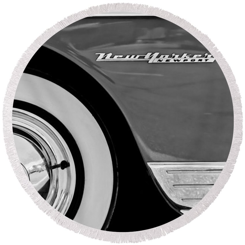 1950 Chrysler New Yorker Coupe Wheel Emblem Round Beach Towel featuring the photograph 1950 Chrysler New Yorker Coupe Wheel Emblem by Jill Reger