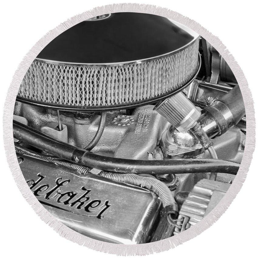 1953 Studebaker Champion Starliner Engine Round Beach Towel featuring the photograph 1953 Studebaker Champion Starliner Engine by Jill Reger