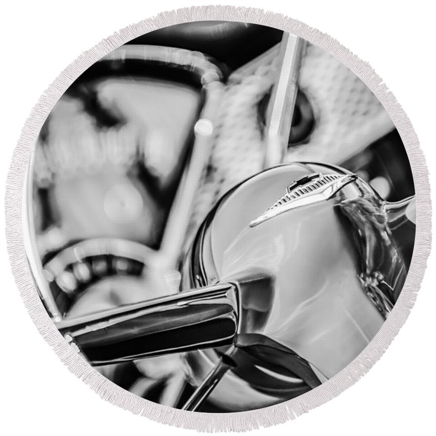 1955 Chevrolet Bel Air Convertible Steering Wheel Emblem Round Beach Towel featuring the photograph 1955 Chevrolet Bel Air Convertible Steering Wheel Emblem -0976bw by Jill Reger