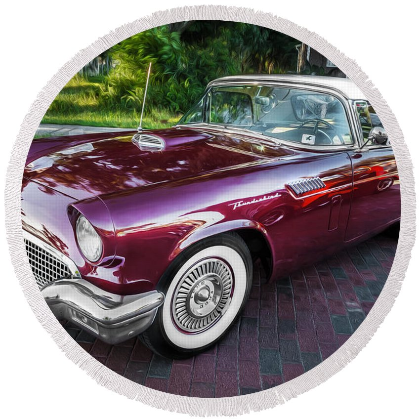 1957 Ford Thunderbird Round Beach Towel featuring the photograph 1957 Ford Thunderbird Convertible Painted  by Rich Franco