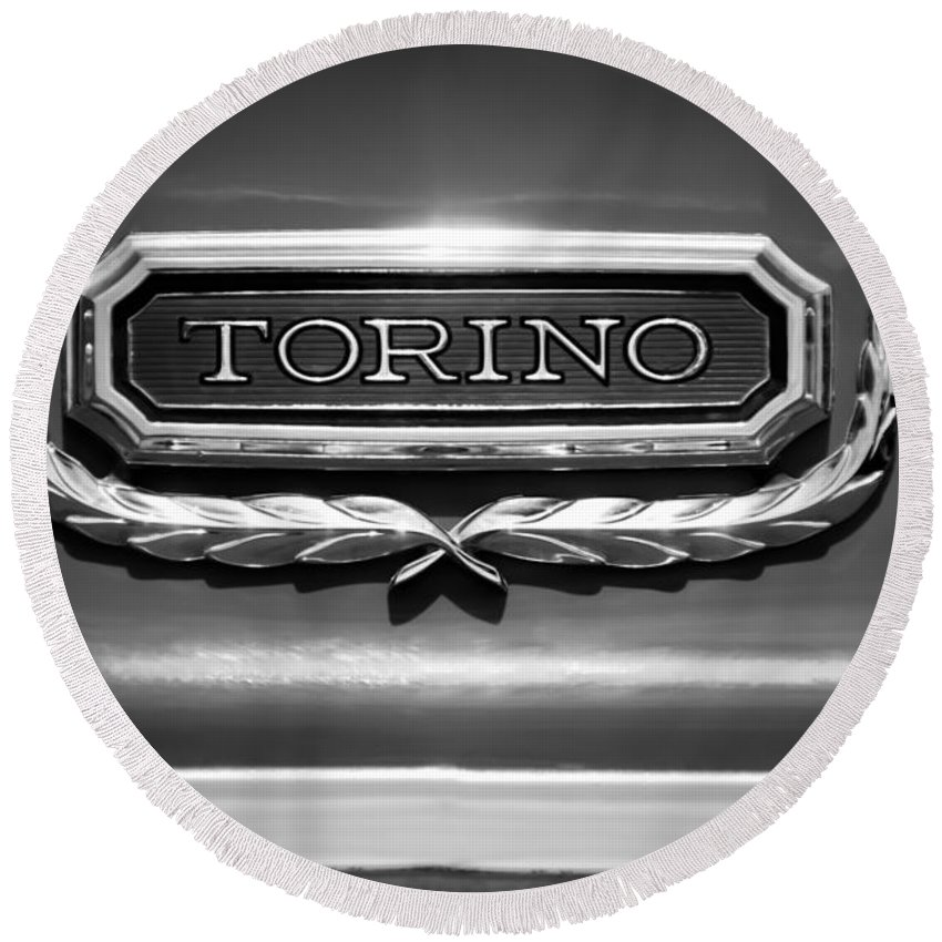 1965 Ford Torino Emblem Round Beach Towel featuring the photograph 1965 Ford Torino Emblem by Jill Reger