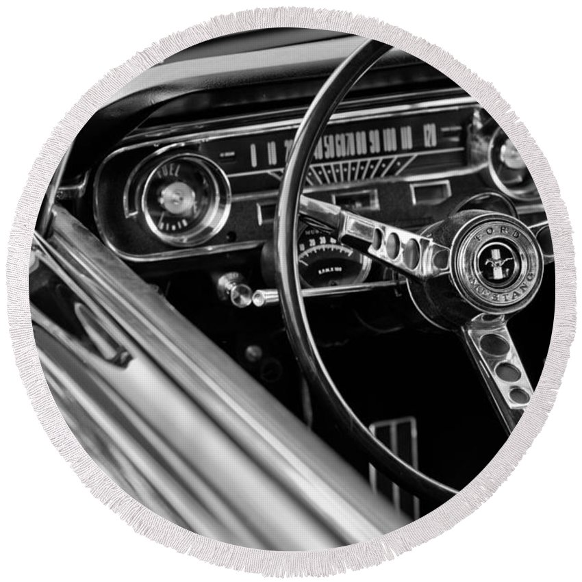 1965 Shelby Prototype Ford Mustang Steering Wheel Round Beach Towel featuring the photograph 1965 Shelby Prototype Ford Mustang Steering Wheel by Jill Reger