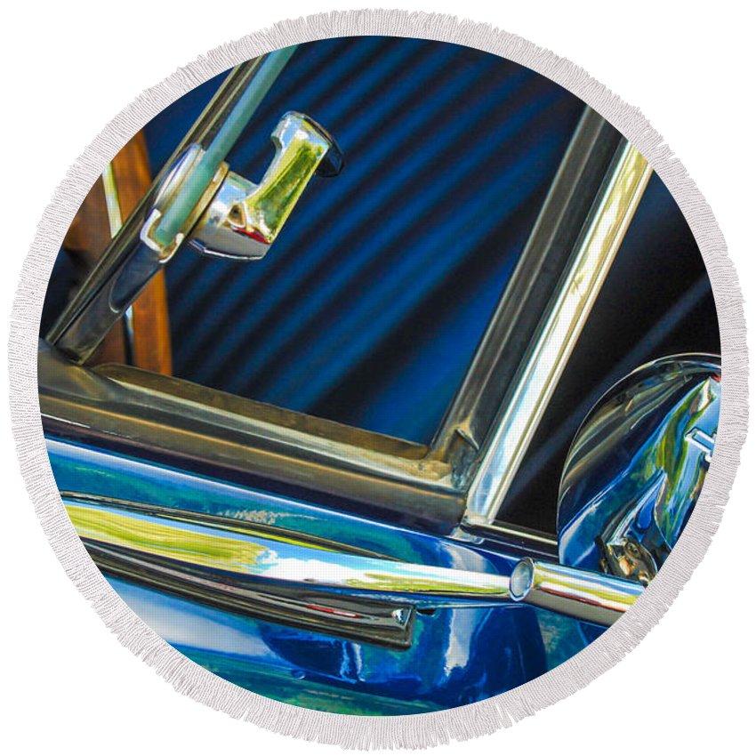 1967 Chevrolet Camaro Ss 350 Rear View Mirror Emblem Round Beach Towel featuring the photograph 1967 Chevrolet Camaro Ss 350 Rear View Mirror Emblem by Jill Reger