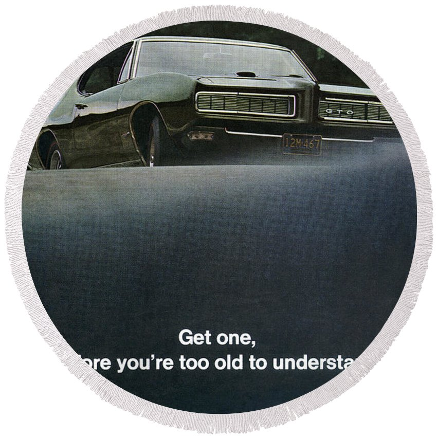 1968 Round Beach Towel featuring the digital art 1968 Pontiac Gto by Digital Repro Depot