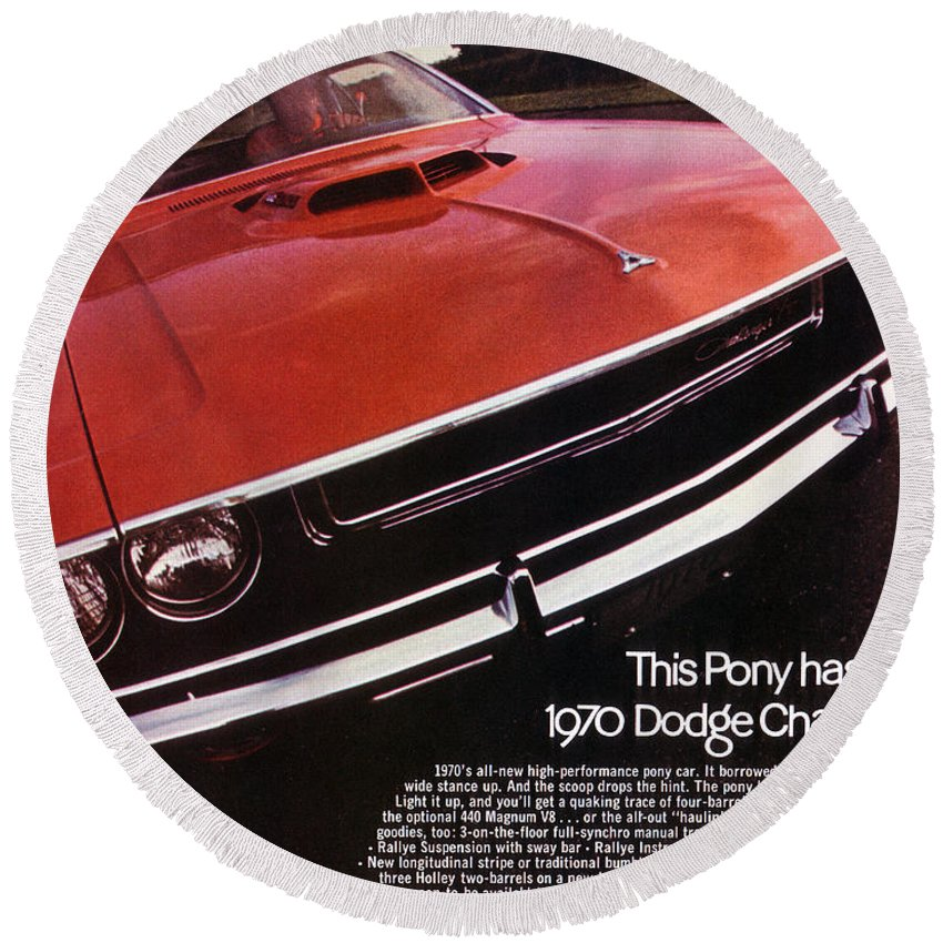 1970 Round Beach Towel featuring the digital art 1970 Dodge Challenger R/t by Digital Repro Depot