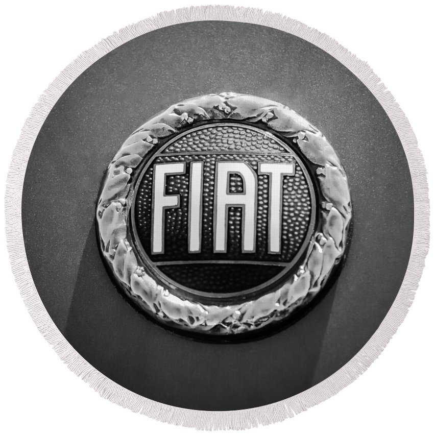 1972 Fiat Dino Spider Emblem Round Beach Towel featuring the photograph 1972 Fiat Dino Spider Emblem by Jill Reger