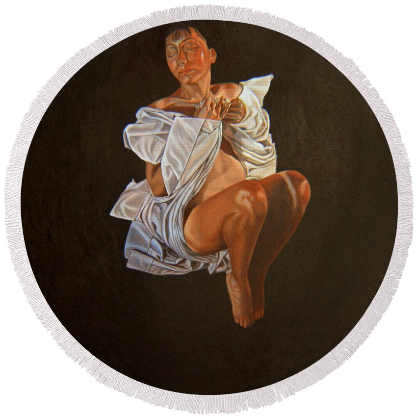 Semi-nude Round Beach Towel featuring the painting 1 30 Am by Thu Nguyen