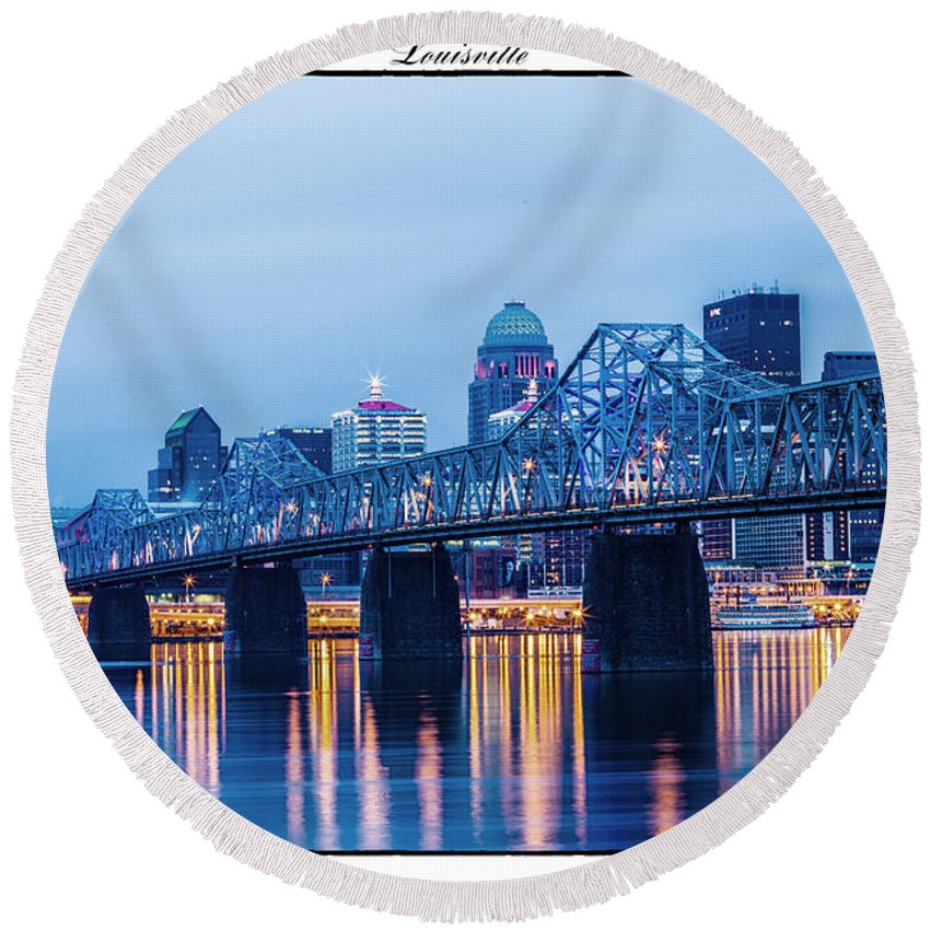 Louisville Round Beach Towel featuring the photograph 502 by James Guest