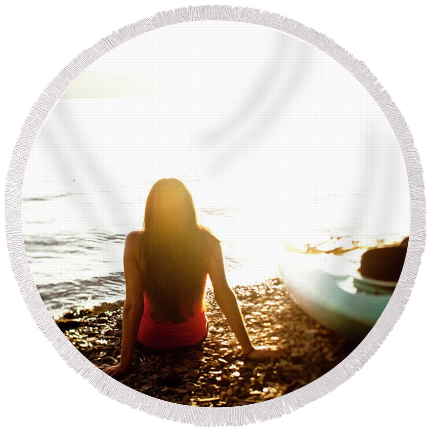 20-24 Years Round Beach Towel featuring the photograph A Beautiful Young Woman Relaxes by Patrick Orton