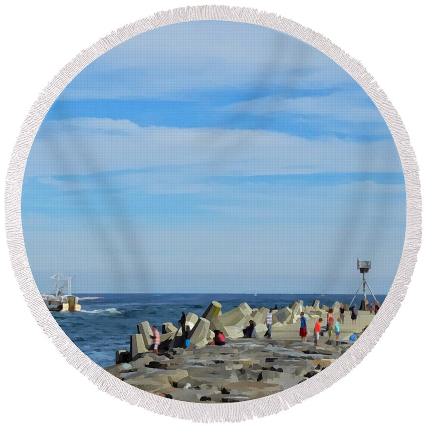 Landscape Round Beach Towel featuring the photograph A Day At The Beach 2 by Sami Martin