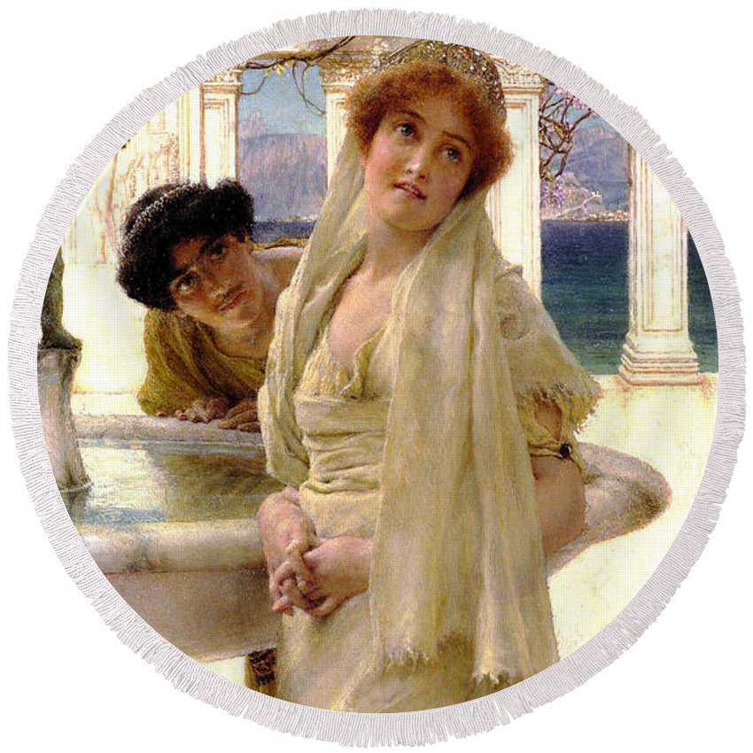 A Difference Of Opinion Round Beach Towel featuring the digital art A Difference Of Opinion by Sir Lawrence Alma Tadema
