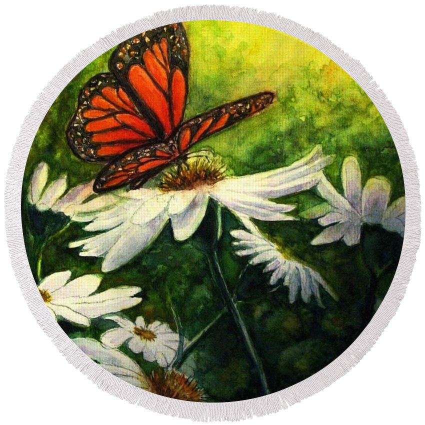 Monarch Butterfly Round Beach Towel featuring the painting A Life-changing Encounter by Hazel Holland
