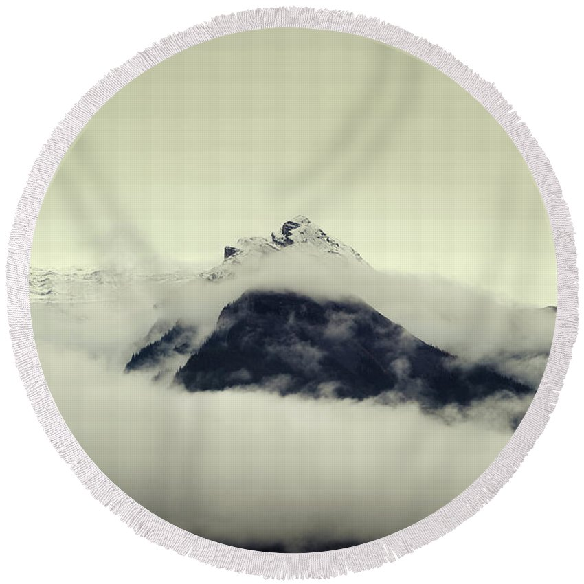 Alberta Round Beach Towel featuring the photograph A Mountain Scene by Todd Korol
