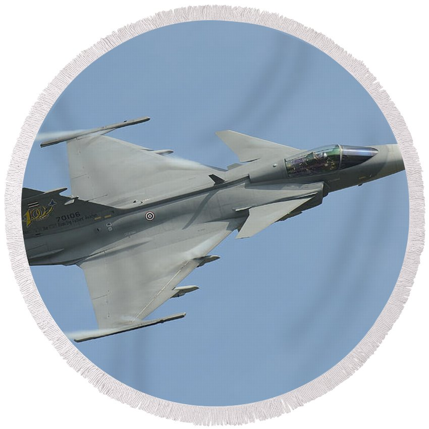 Horizontal Round Beach Towel featuring the photograph A Saab Jas 39 Gripen C Of The Royal by Remo Guidi