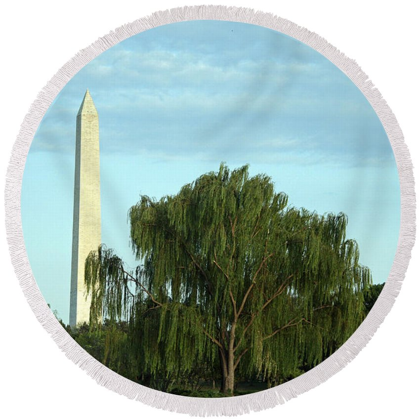 Washington Round Beach Towel featuring the photograph A Weeping Willow Washington Monument by Cora Wandel