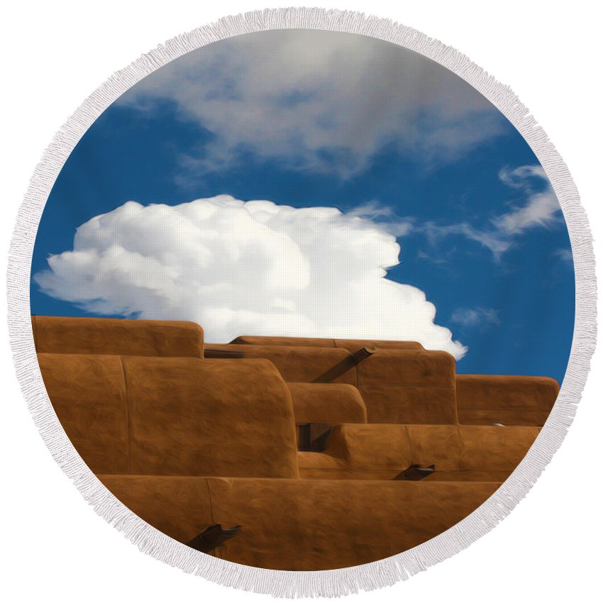 Clouds Round Beach Towel featuring the photograph Above Santa Fe by Terry Fiala