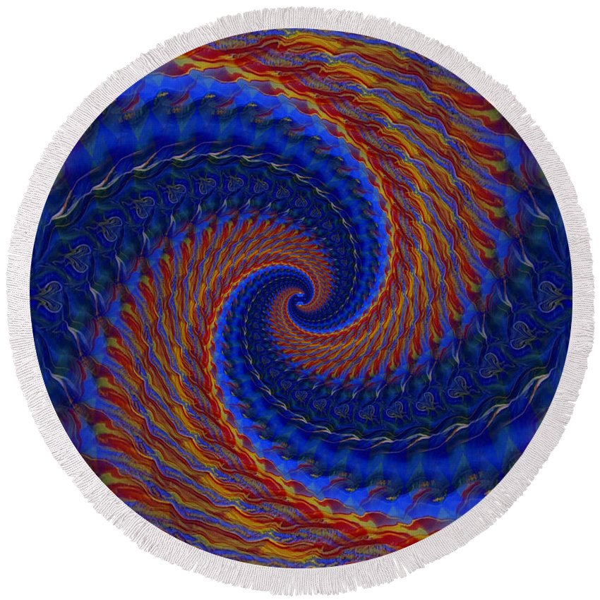Original Round Beach Towel featuring the painting Abstract 142 by J D Owen