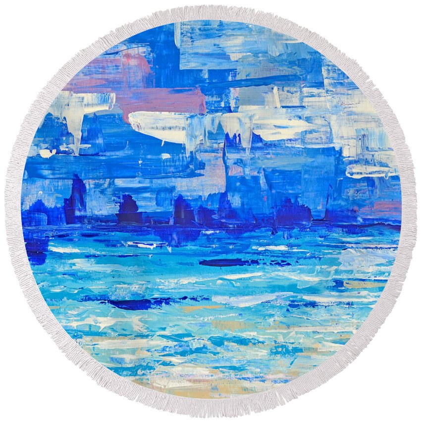 Abstract Round Beach Towel featuring the painting Abstract Beach by Paola Correa de Albury