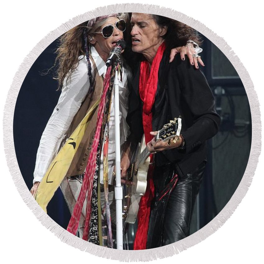 Joe Perry Round Beach Towel featuring the photograph Aerosmith by Concert Photos