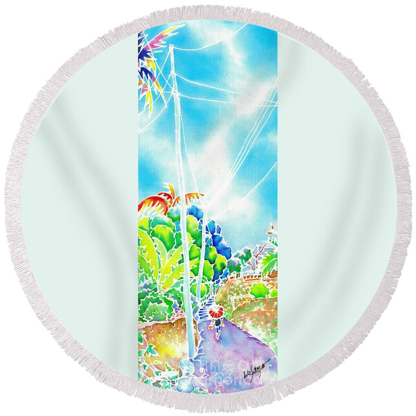 Japan Round Beach Towel featuring the painting After The Squall by Hisayo Ohta