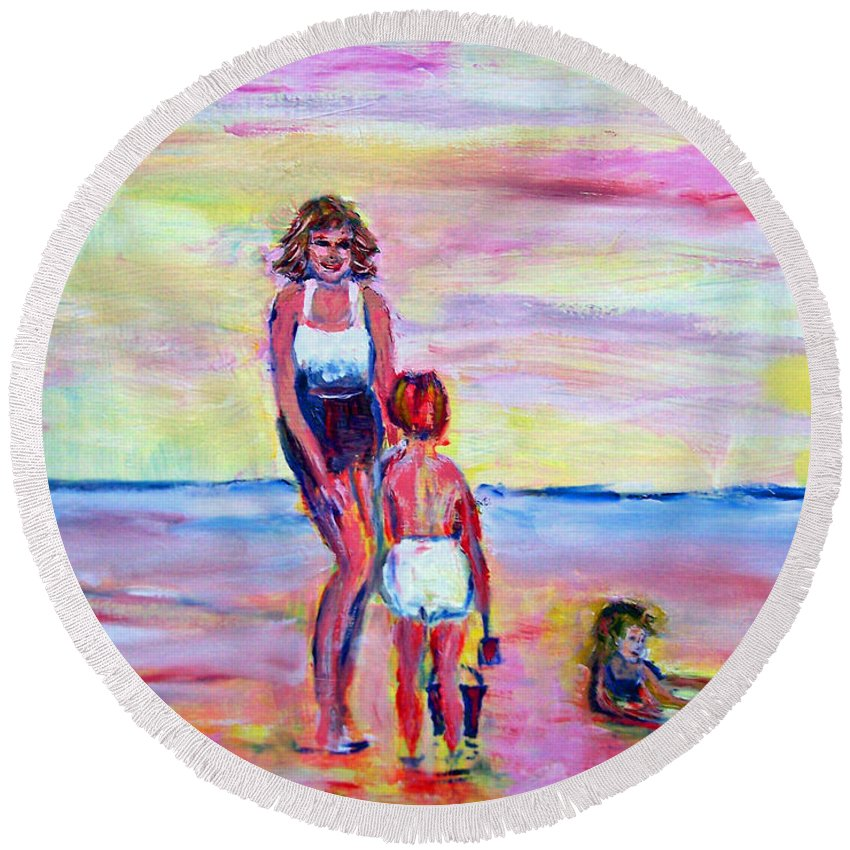 Girl Round Beach Towel featuring the photograph Afternoon Tide by Patricia Taylor