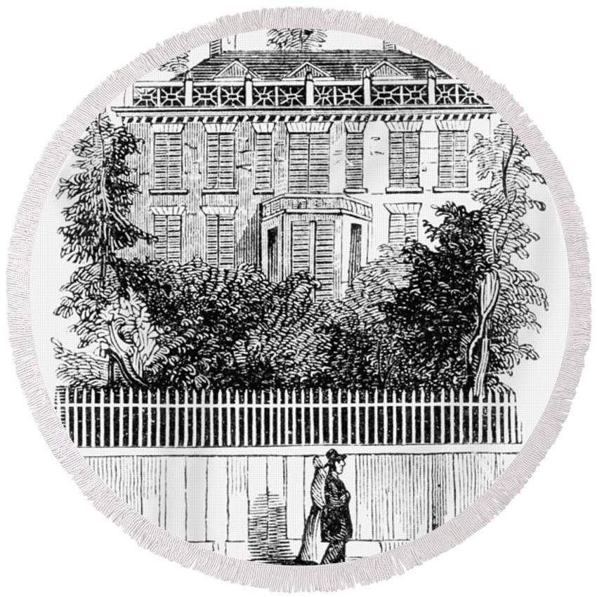 1761 Round Beach Towel featuring the painting Albany Schuyler Mansion by Granger