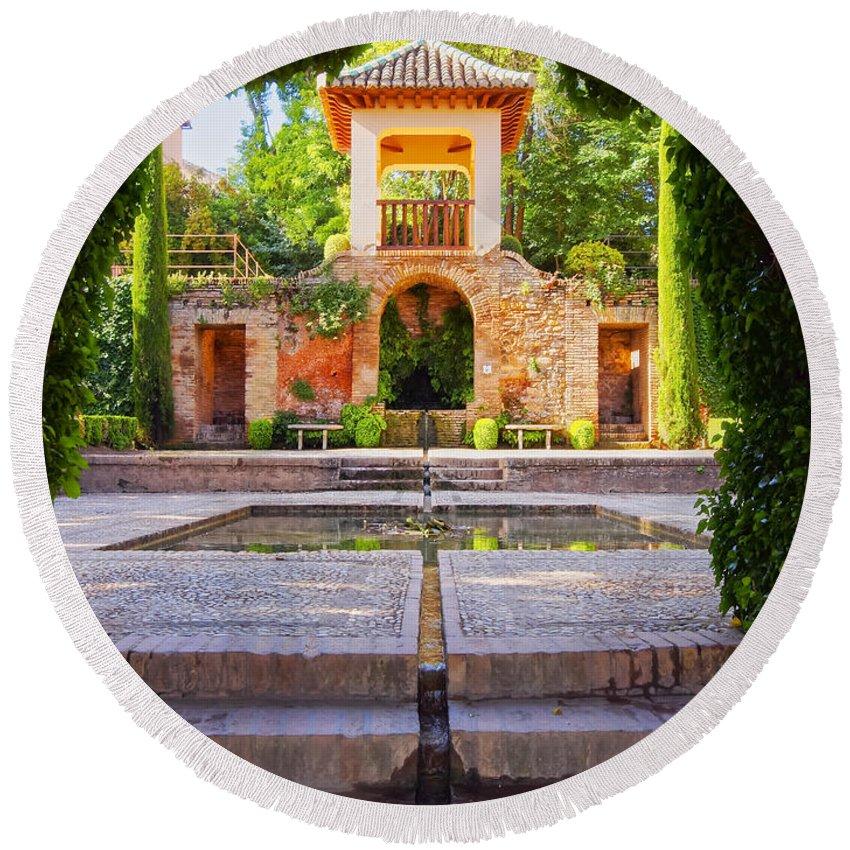 Vertical Round Beach Towel featuring the photograph Alhambra In Granada by Karol Kozlowski