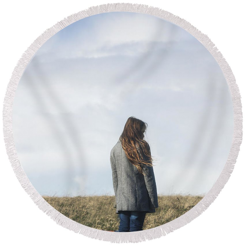 Girl Round Beach Towel featuring the photograph Alone by Joana Kruse