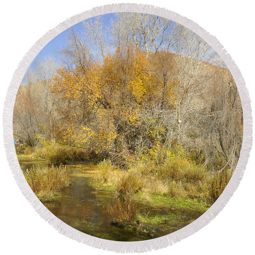 Canvas Print Round Beach Towel featuring the photograph Alpine Loop Scenic Byway American Fork Canyon Utah by Wendy Elliott