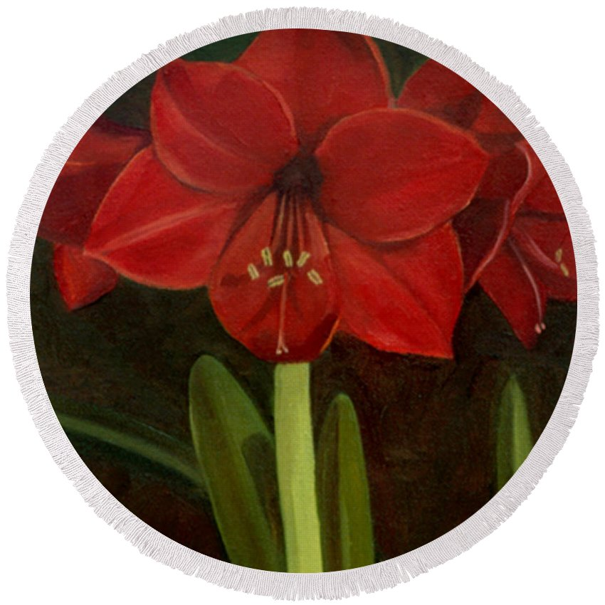 Amaryllis Round Beach Towel featuring the painting Amaryllis by Nancy Griswold