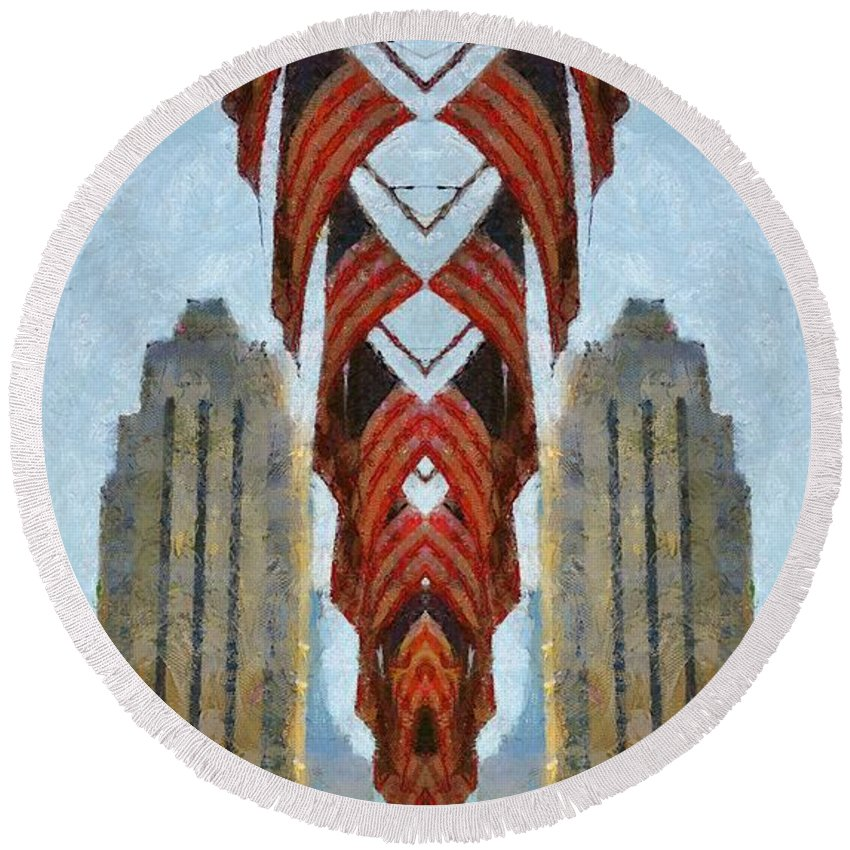 American Architecture Round Beach Towel featuring the painting American Architecture by Dan Sproul