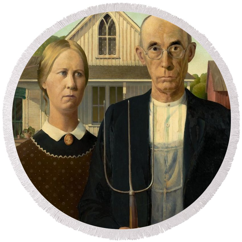 Grant Wood Round Beach Towel featuring the painting American Gothic by Grant Wood