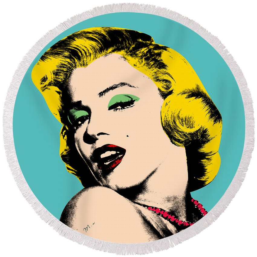 Pop Art Round Beach Towel featuring the digital art Andy Warhol by Mark Ashkenazi
