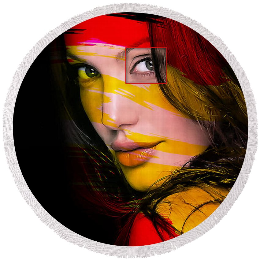 Angelina Drawings Mixed Media Round Beach Towel featuring the mixed media Angleina Jolie by Marvin Blaine