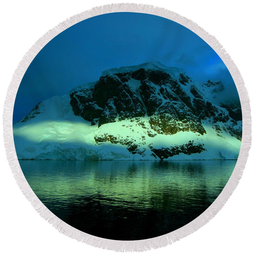 Iceberg Round Beach Towel featuring the photograph Antarctic Fiord by Amanda Stadther