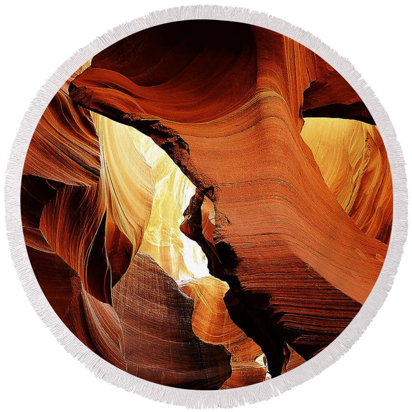 Antelope Round Beach Towel featuring the photograph Antelope Canyon 9 by Ingrid Smith-Johnsen