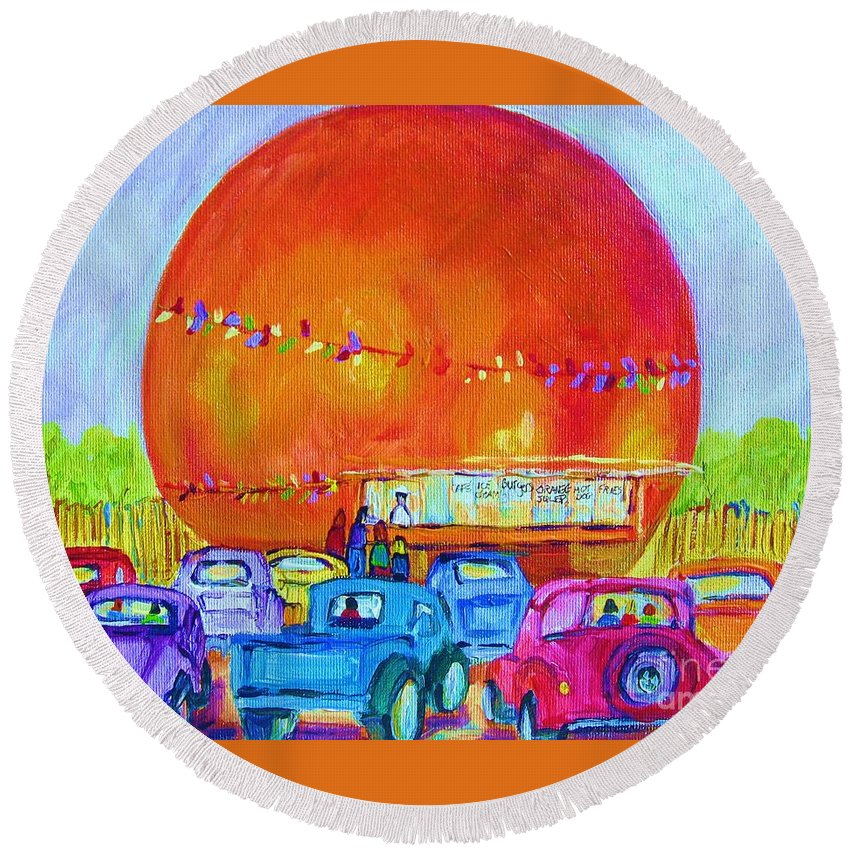 Cars Round Beach Towel featuring the painting Antique Cars At The Julep by Carole Spandau